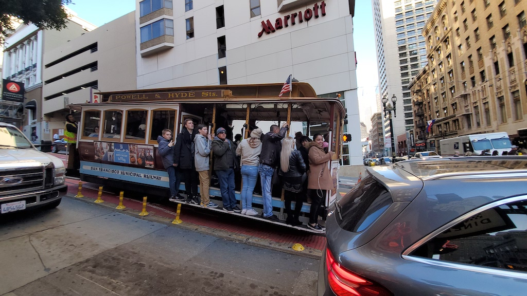 Riding the Powell and Mason Line in San Francisco, California near the Marriott