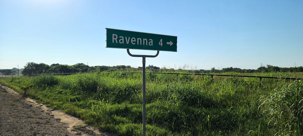 Ravenna Sign 4 miles out - Ravenna, Texas