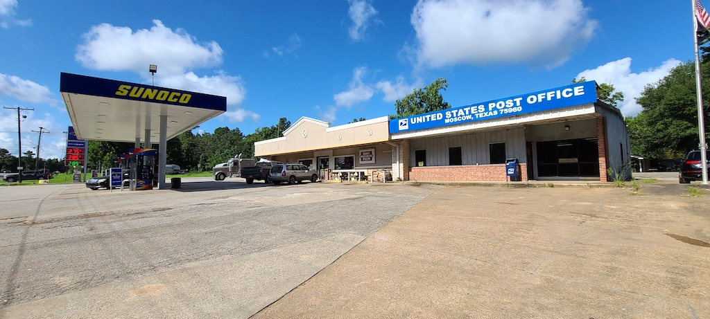 Sunoco gas station and Post Office - Moscow, Texas