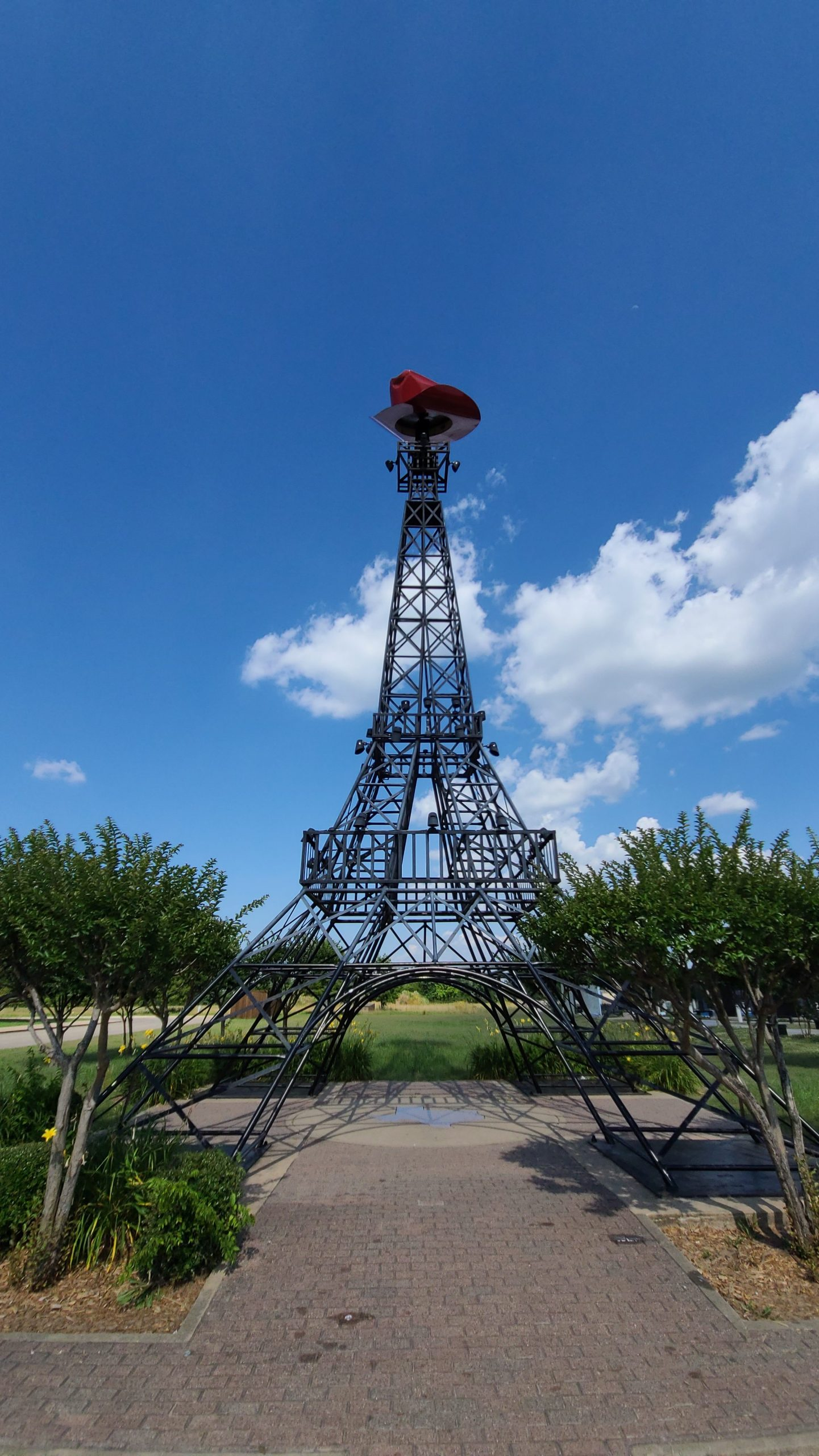 Eiffel Tower in Paris, Texas with a red cowboy hat