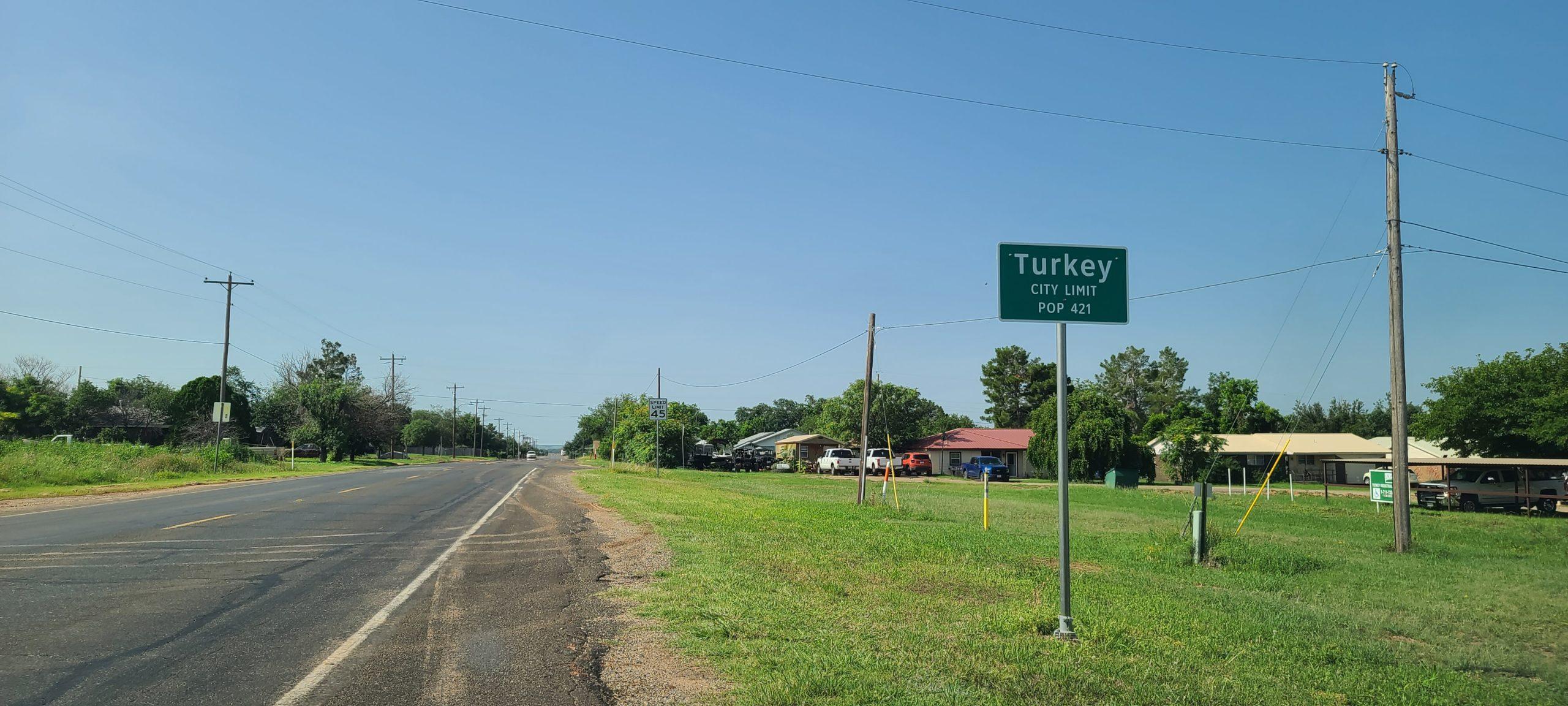 Turkey, Texas Population Sign